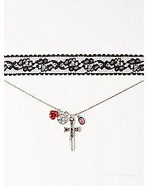 Lace Choker with Cross Charm