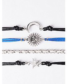 Star Moon Sun Bracelets - 4 Pack