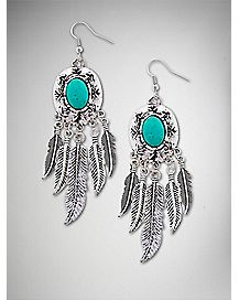 Blue Stone Feather Dangle Earrings