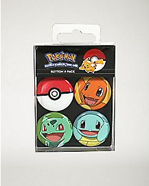 Starter Pokemon Button 4 Pack