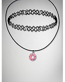 Pink Donut Tattoo Choker Necklace 2 Pack