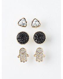 Hamsa Hand Stone Earring 3 Pack