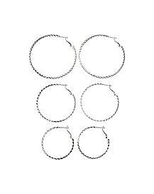 Silver Glitter Hoop Earrings 3 Pack