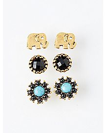 Elephant Stud Earring 3 Pack