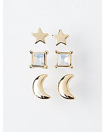 Star and Moon Earrings - 3 Pack