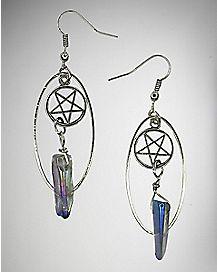Pentagram Stone Dangle Earrings