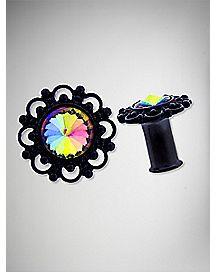 Black Filigree and Rainbow Stone Plugs