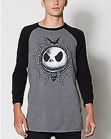 Spiderweb Jack Nightmare Before Christmas Raglan T Shirt
