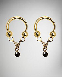 Black CZ Gold Dangle Nipple Circular Horseshoe - 14 Gauge