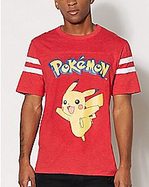 Red Varsity Pikachu Pokemon T shirt