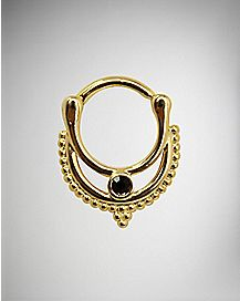 Gold Plated Clicker Septum Ring - 16 Gauge