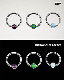 Ultraviolet Effect Captive Ring 3 Pack - 18 Gauge