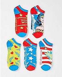 Wonder Woman No Show Socks 5 Pair - DC Comics