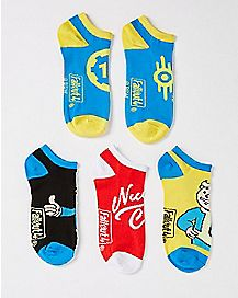 Vault Boy Fallout No Show Socks - 5 Pack
