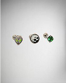 Cartilage Earrings - 3 Pack - 18 Gauge