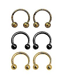 Gold and Black Horseshoe Rings - 18 Gauge