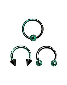 Green and Black Ombre Septum Rings - 16 Gauge - 3 Pack