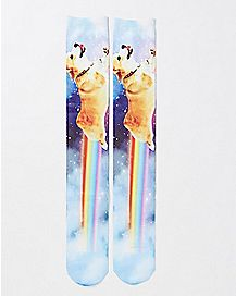 Rainbow Corgi Crew Socks