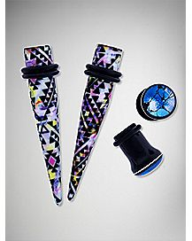 Multicolor Mosaic Taper and Plug Set