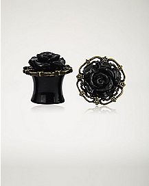 Black Rose Filigree Plugs