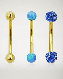 Blue and Gold Curved Barbell 3 Pack - 16 Gauge