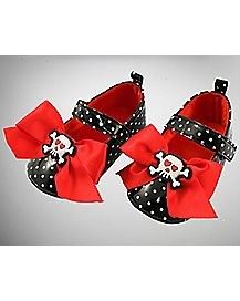 Baby Skull Bow Mary Janes