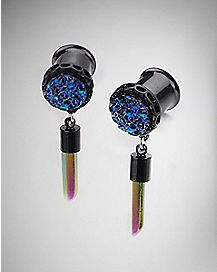Black Druzy Dangle Plugs