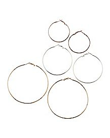 Gold and Silver Hoop Earring 3 Pack