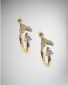 CZ Arrow Hoop Stud Earrings