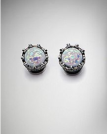 White Opal-Effect Crown Plugs