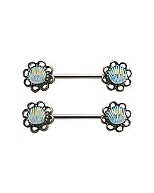 Teal Shell Nipple Barbells - 14 Gauge