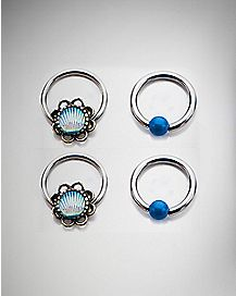 Teal Shell Blue Stone Captive Ring 4 Pack - 16 Gauge