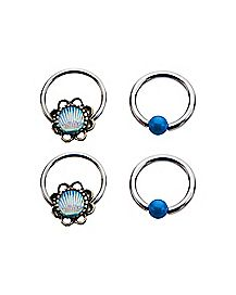 Teal Shell Blue Stone Captive Ring 4 Pack - 18 Gauge