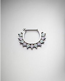 White CZ Clicker Septum Ring - 16 Gauge