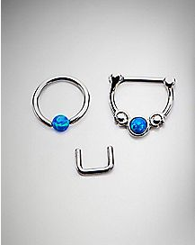 Blue Opal-Effect Septum Nose Ring 3 Pack - 16 Gauge