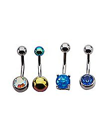 Yellow and Blue CZ Belly Ring 4 Pack - 14 Gauge