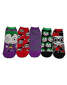 Joker and Harley Quinn No Show Socks 5 Pack