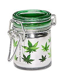Clear Leaf Print Storage Jar - 1.5 oz.