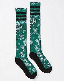 Green Leaf Paisley Socks