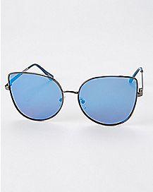 Blue Tear Cat Metal Sunglasses