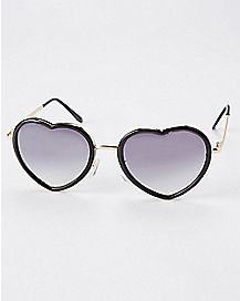 Plastic Rim Metal Heart Sunglasses