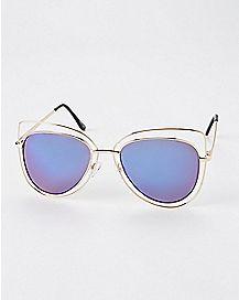 Purple Cat Aviator Metal Sunglasses