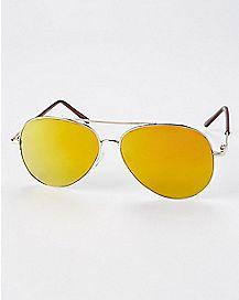 Yellow Brow Bar Aviator Sunglasses