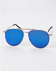 Blue Brow Bar Aviator Sunglasses