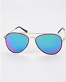 Plastic Rim Galaxy Aviator Sunglasses