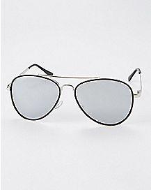 Plastic Rim Silver Aviator Sunglasses