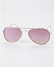 Pink Sparkle Aviator Sunglasses