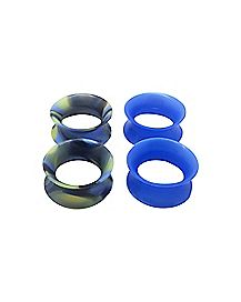 Blue Marble Silicone Tunnels - 2 Pairs