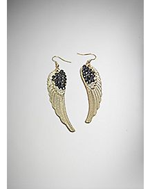 CZ Gold-Plated Wing Earrings
