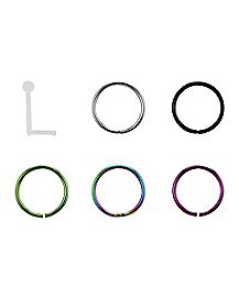 Hoop and Bend Nose Rings - 6 Pack - 20 Gauge